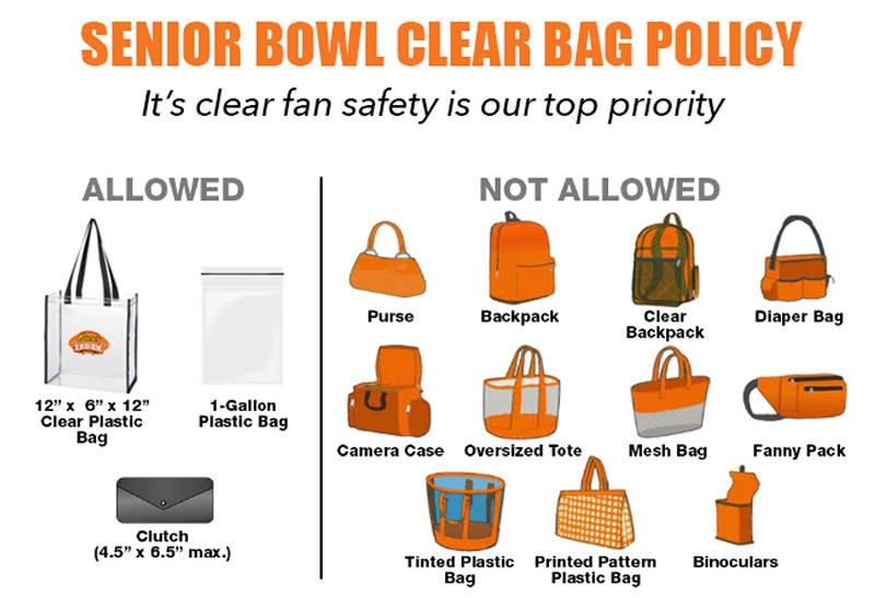 Senior Bowl Clear Bag Policy Graphic