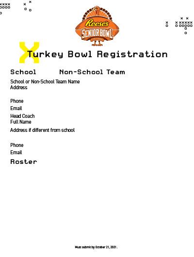 Turkey Bowl Registration Form