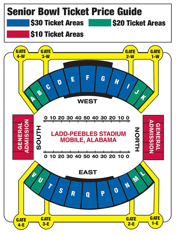 Senior Bowl Ticket Area Map